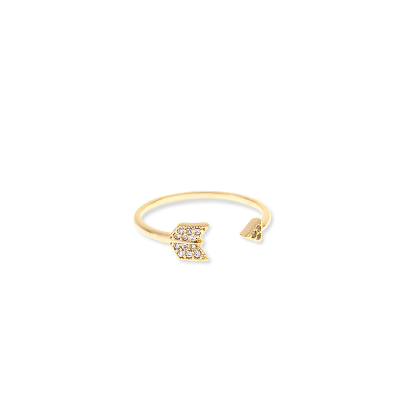 Wanderlust + Co Arrow Crystal Gold Ring