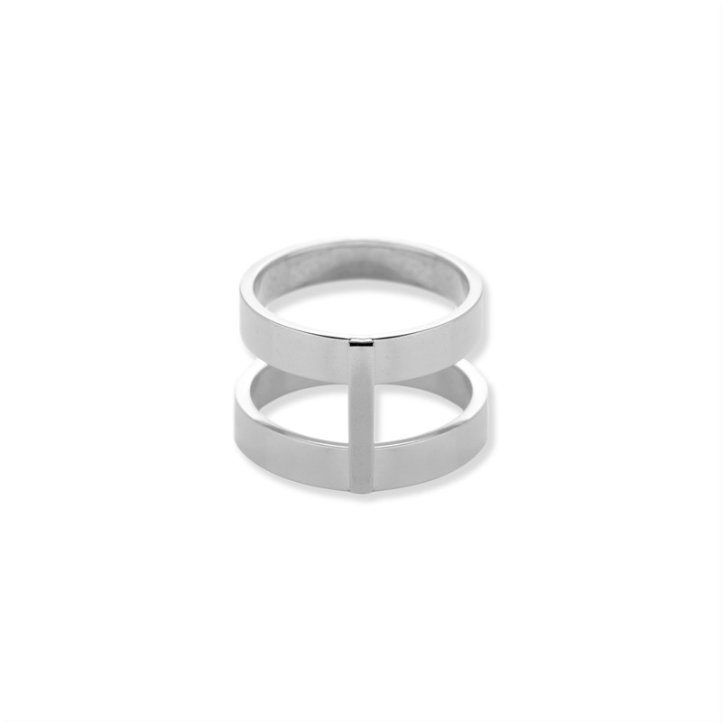 Wanderlust + Co Double Bar Ring in Silver