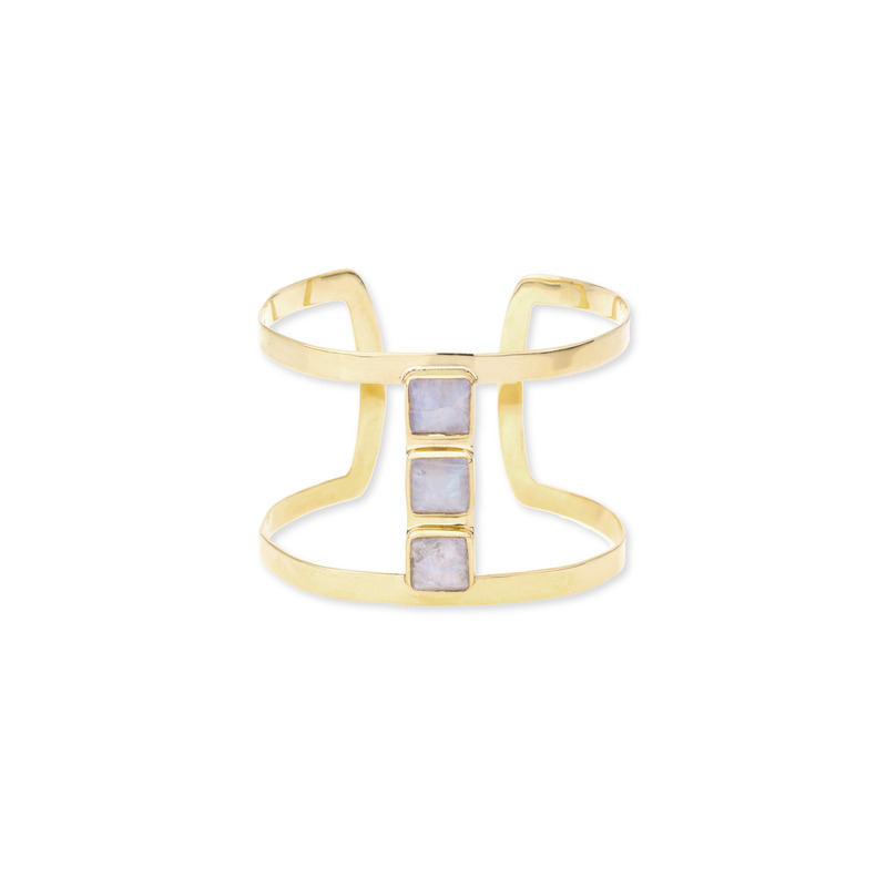 Margaret Elizabeth Open Three Stone Emerald Cuff in Moonstone