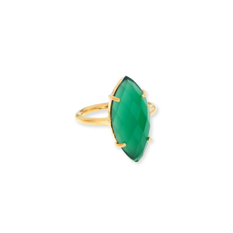 Margaret Elizabeth Marquis Ring in Green Onyx