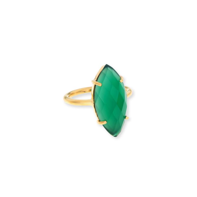 Margaret Elizabeth Marquis Ring in Green Onyx