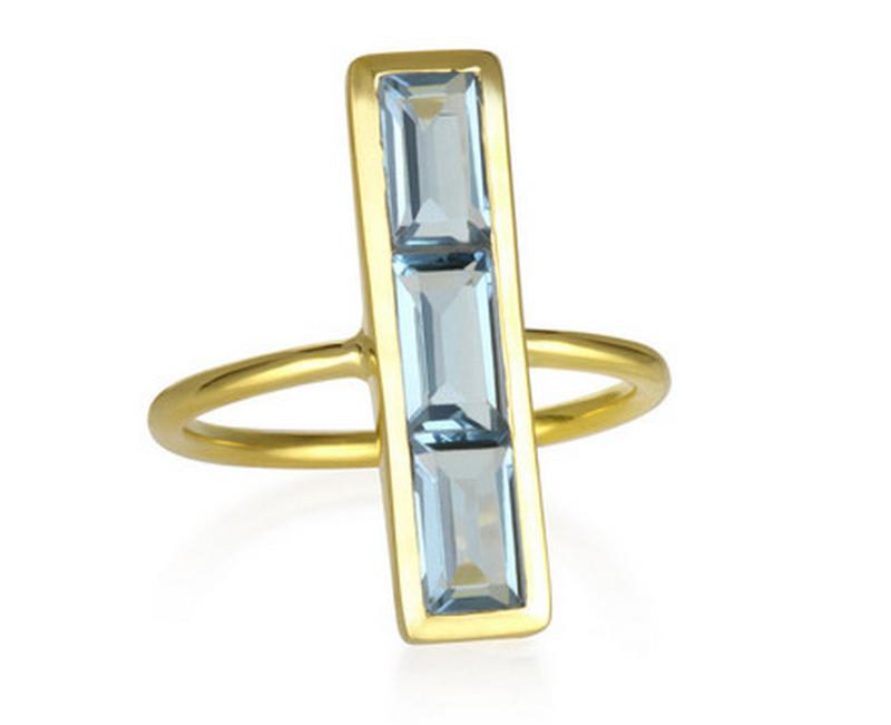 Margaret Elizabeth Emerald Baguette Ring in Blue Topaz