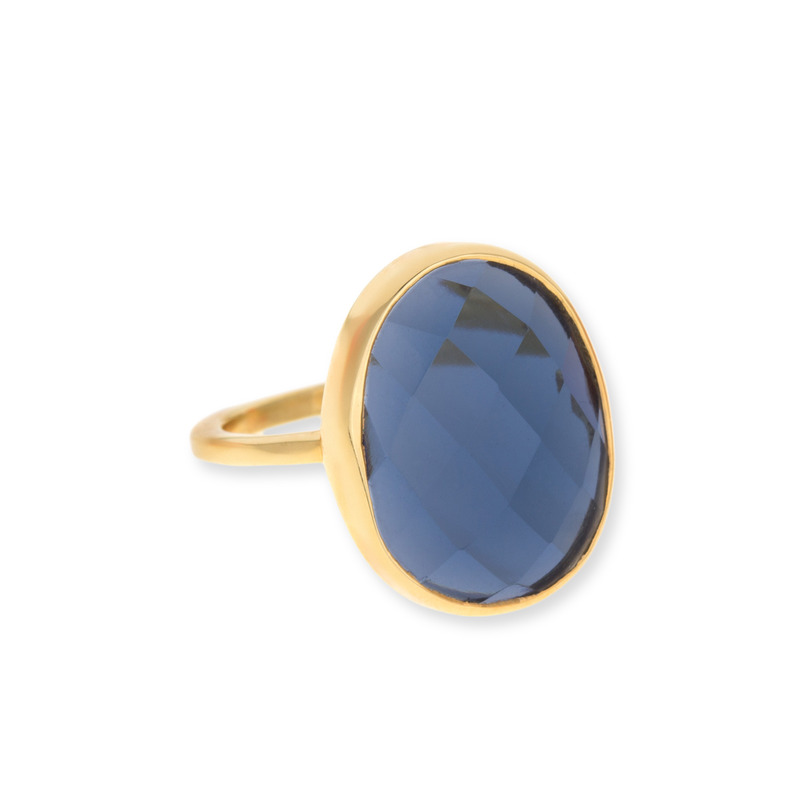 Margaret Elizabeth Faceted Cocktail Ring in Navy