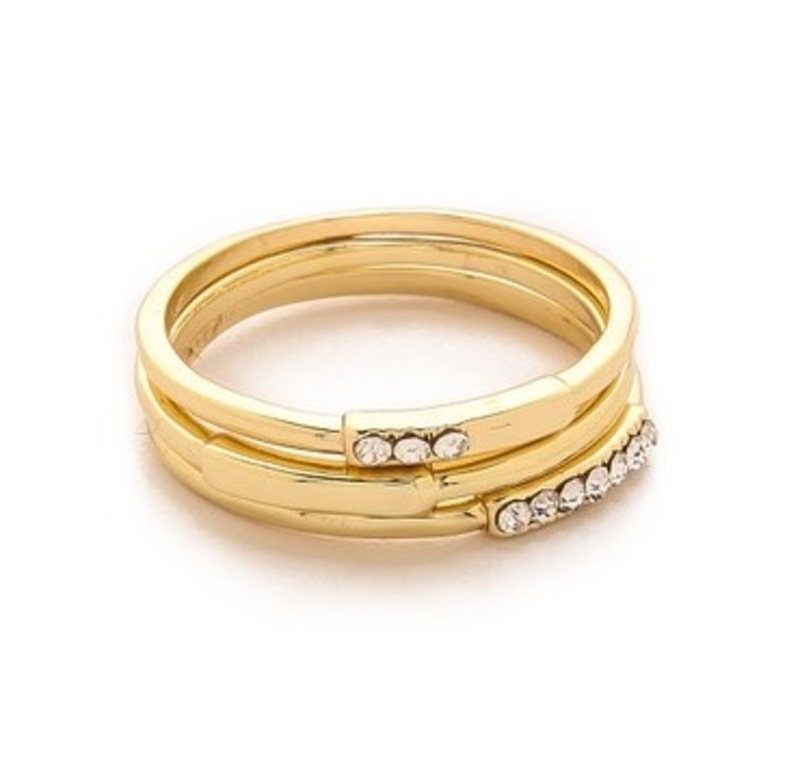Jules Smith Pavé/Solid Arched Bar Stack Rings