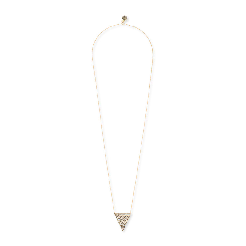 House of Harlow 1960 Pavé Tribal Triangle Pendant in Gold