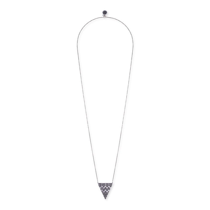 House of Harlow 1960 Pavé Tribal Triangle Pendant in Silver