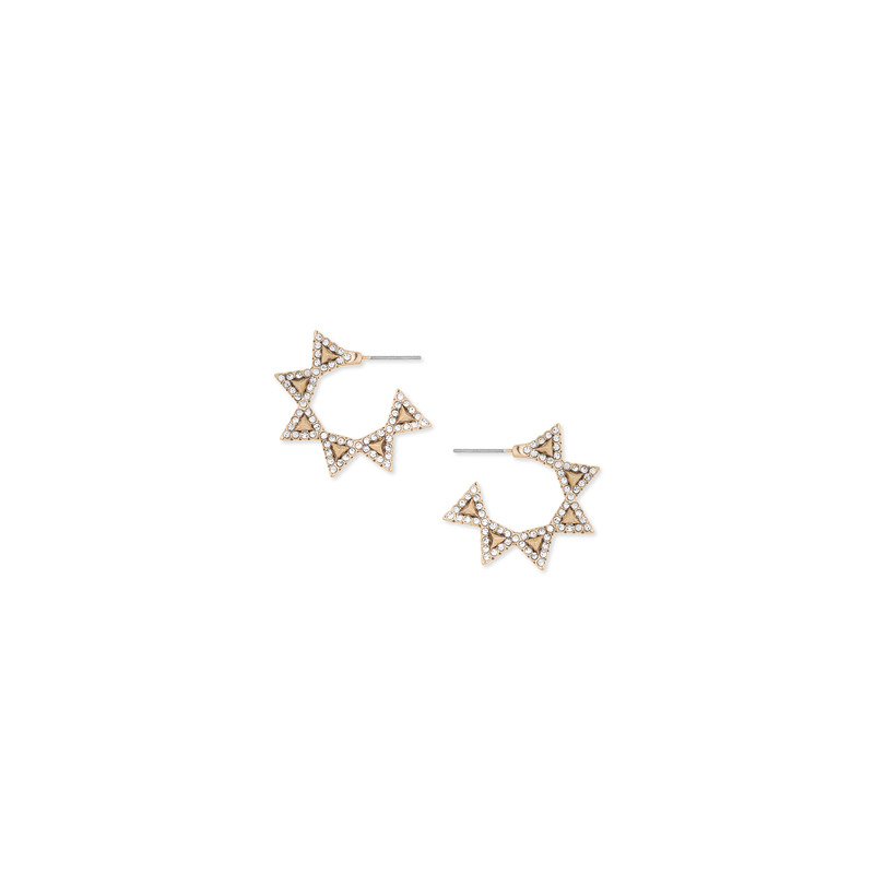 House of Harlow 1960 Geodesic Triangle Mini Hoops in Gold