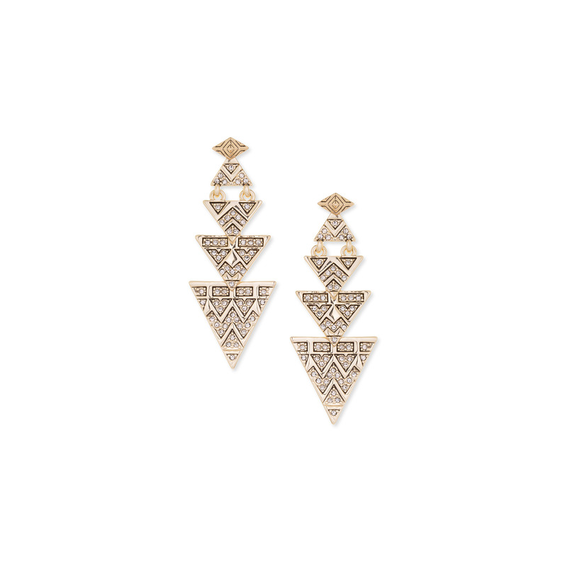 House of Harlow 1960 Pave Tribal Triangle Earrings