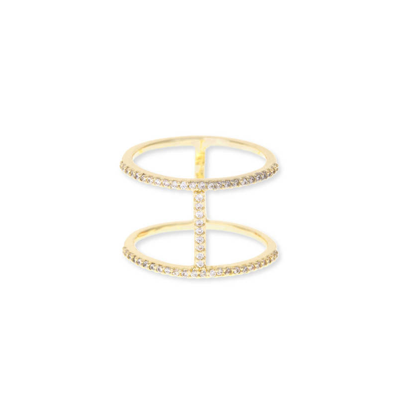 Sophie Harper Pavé Double Bar Ring