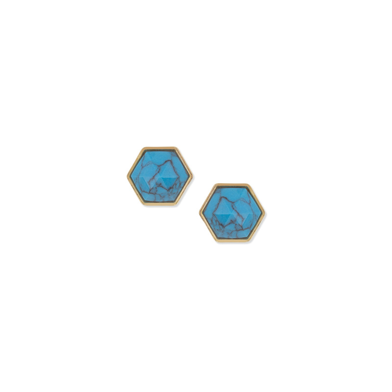 Trina Turk Hexagon Stone Stud in Turquoise