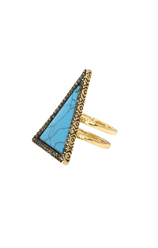 House of Harlow 1960 Triangle Theorem Ring in Turquoise