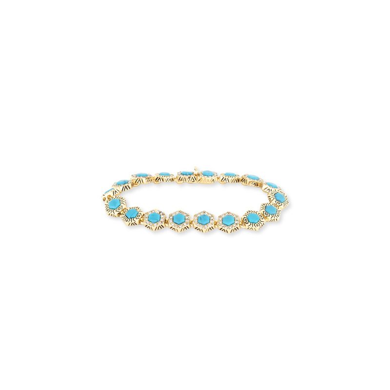 House of Harlow 1960 Hexes Tennis Bracelet in Turquoise
