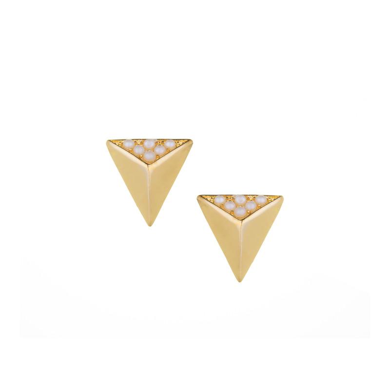 SLATE Pearl Triangle Studs