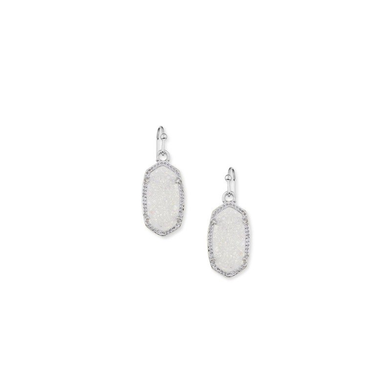 Kendra Scott Lee Silver Earrings in Iridescent Drusy