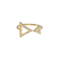 Wanderlust + Co Double Frame-Tri Crystal Gold Ring