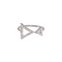 Wanderlust + Co Double Frame-Tri Crystal Silver Ring