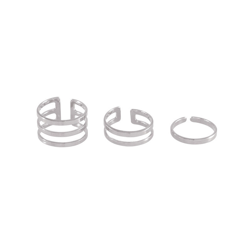 Wanderlust + Co Trio Bar Stack Silver Rings