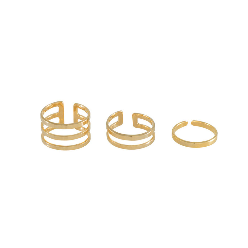 Wanderlust + Co Trio Bar Stack Gold Rings