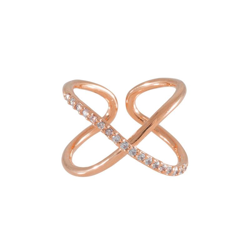 Wanderlust + Co Orbit & Crystal Rose Gold Ring