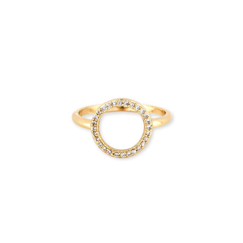 Jules Smith Delicate Pavé Circle Ring in Gold