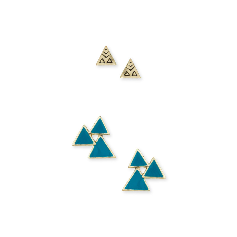 House of Harlow 1960 Tessellation Triangle Cluster Studs Set in Turquoise