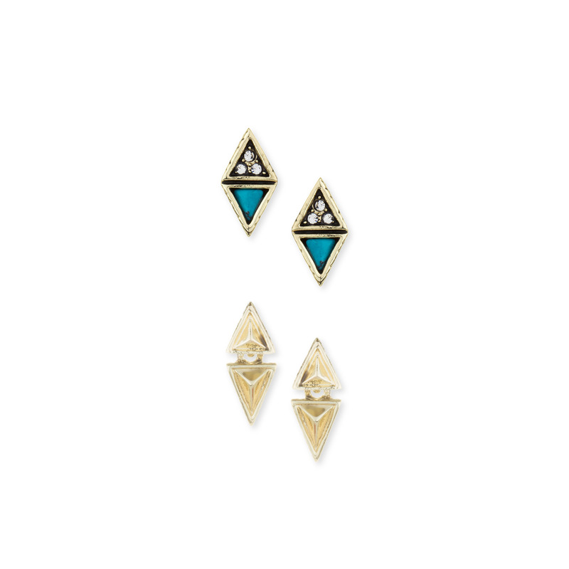 House of Harlow 1960 Tessellation Triangles Pave Studs Set in Turquoise