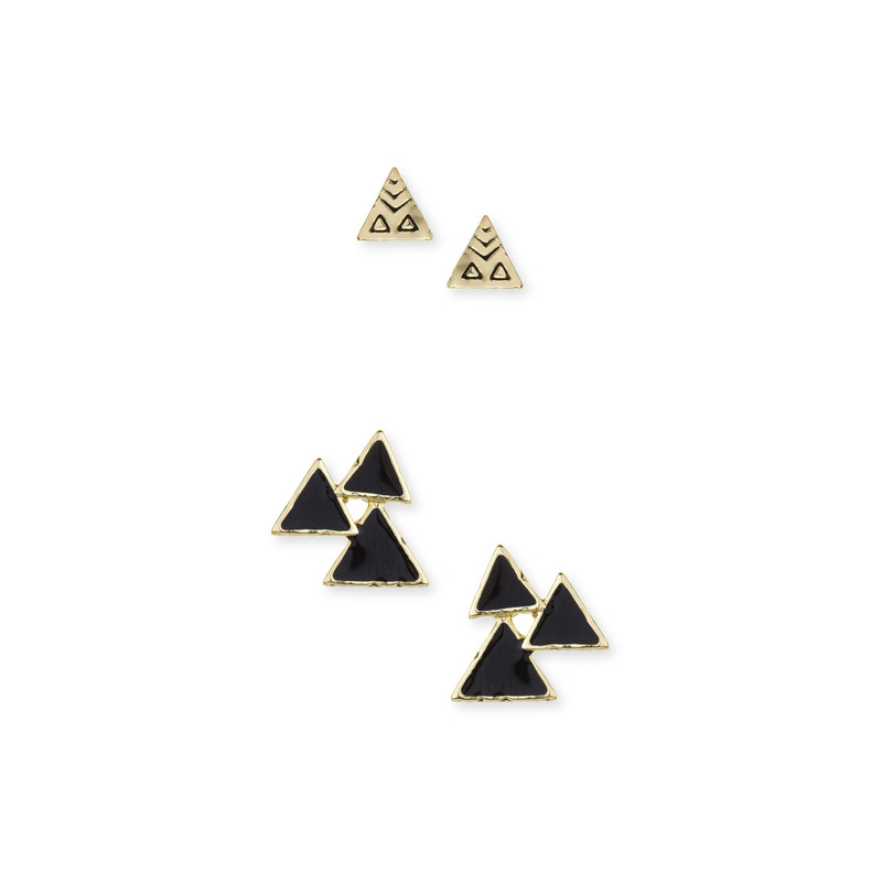 House of Harlow 1960 Tessellation Triangle Clustered Studs Set in Black
