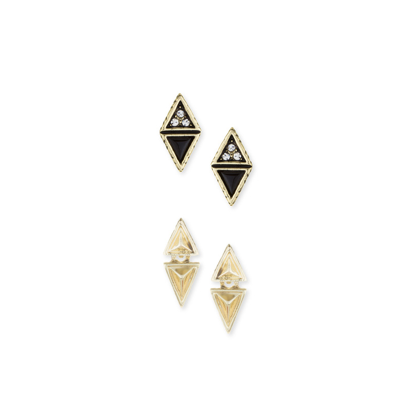 House of Harlow 1960 Tessellation Triangles Pave Studs Set in Black