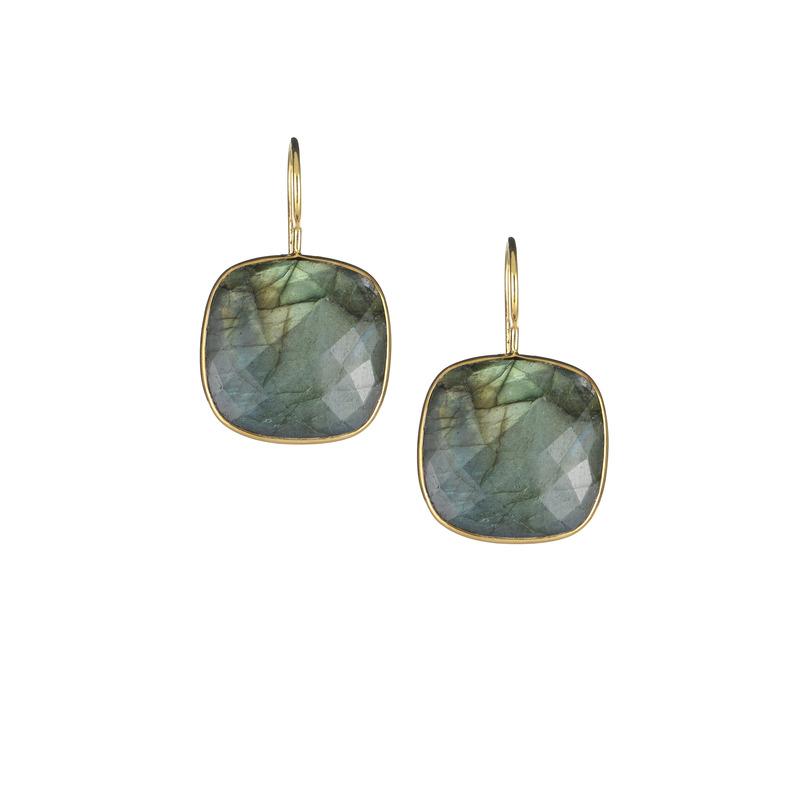 Margaret Elizabeth Cushion Cut Drop Earrings in Labradorite