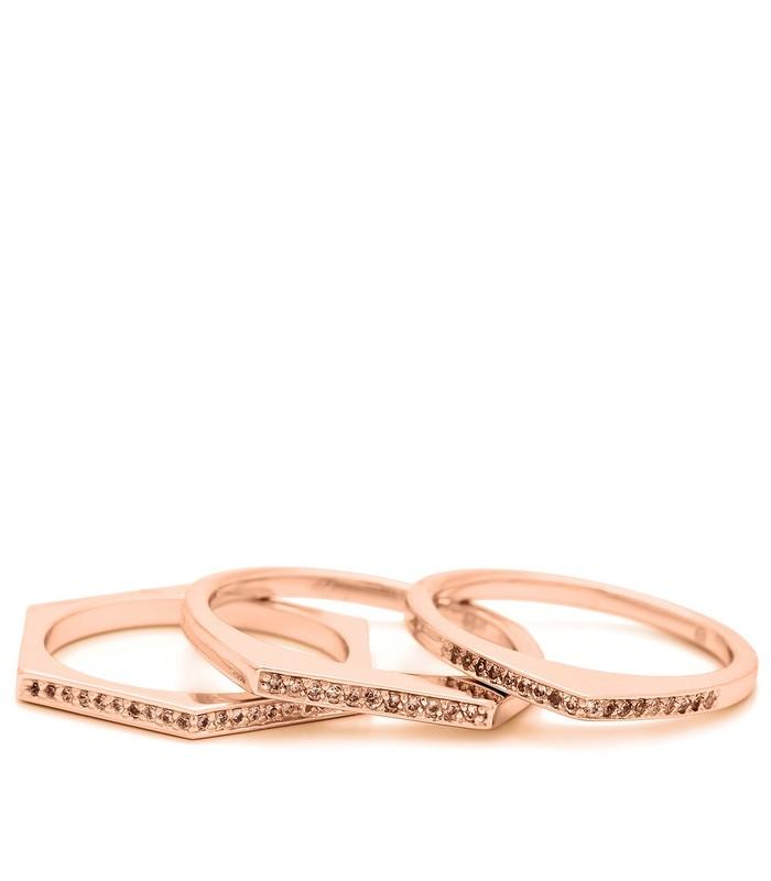 Gorjana Mila Shimmer Ring Set in Rose Gold