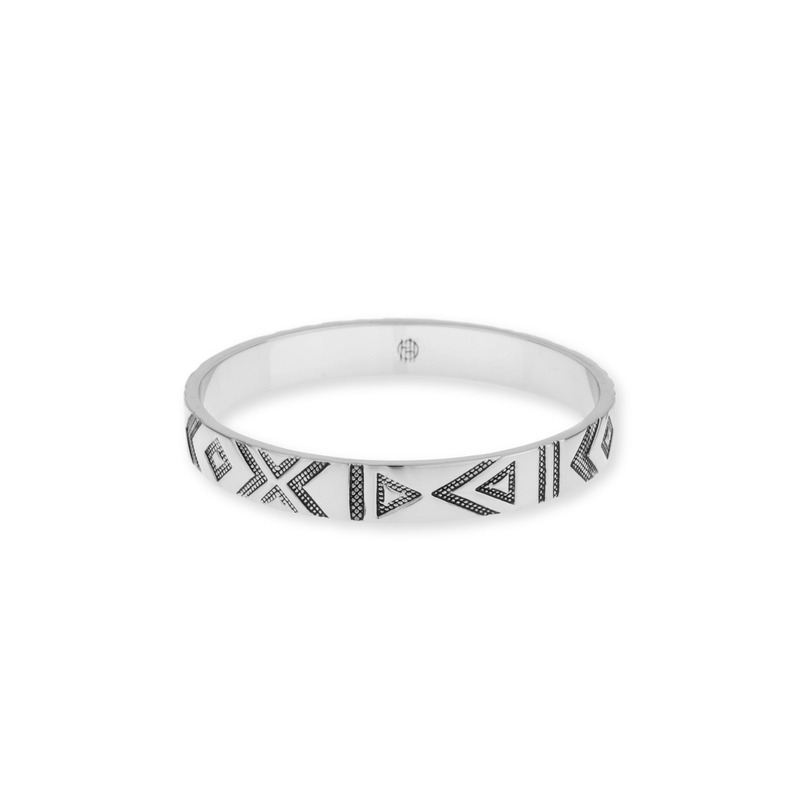 House of Harlow 1960 Symbols and Signs Bangle in Silver