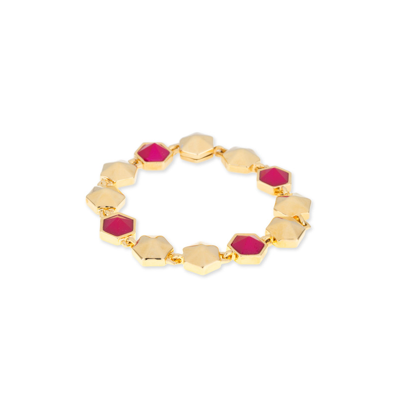 Trina Turk Hexagon Stone Flex Bracelet in Pink