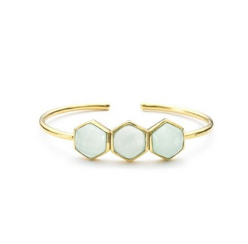 Margaret Elizabeth Hexagon Bangle in Aqua
