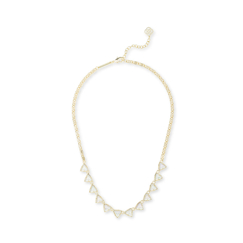 Kendra Scott Andrea Necklace in Iridescent White Opaque Glass