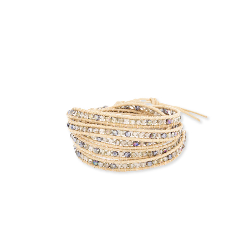 Nakamol Mixed Crystals Five Times Tan Leather Wrap Bracelet