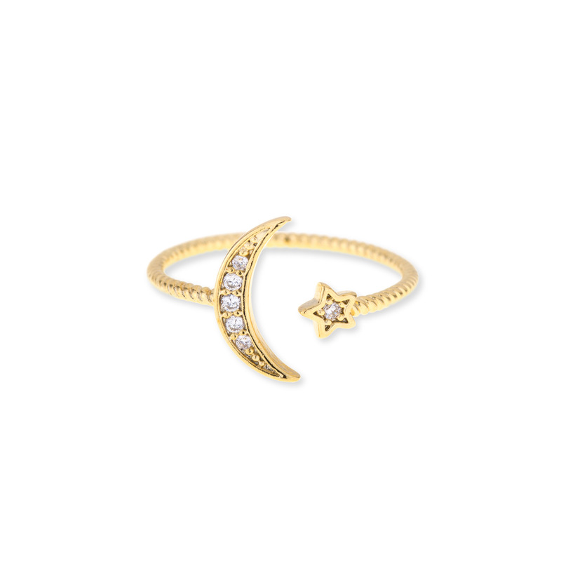 Wanderlust + Co Crescent & Star Gold Ring
