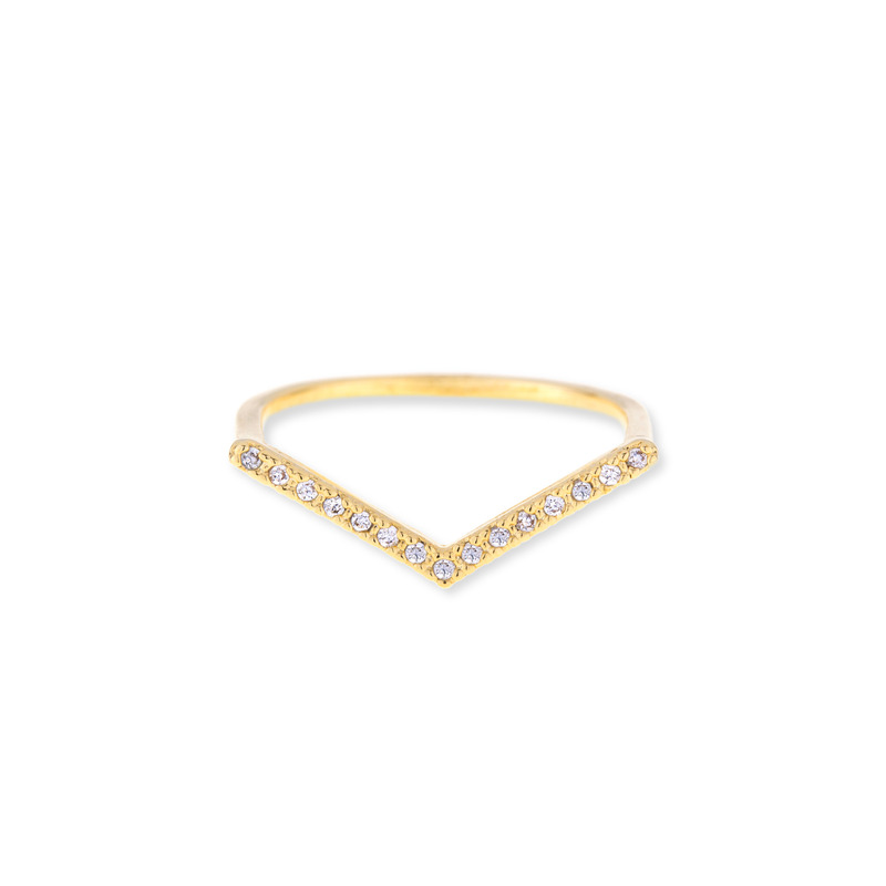 Wanderlust + Co V-Bar Crystal Gold Ring