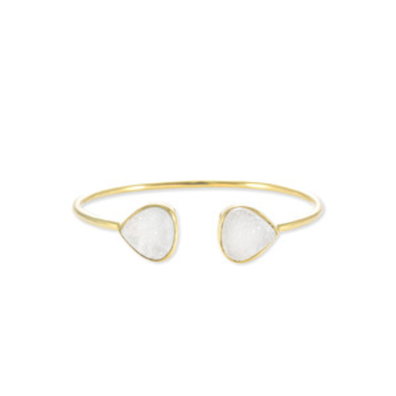 Margaret Elizabeth Teardrop Bangle in White Druzy