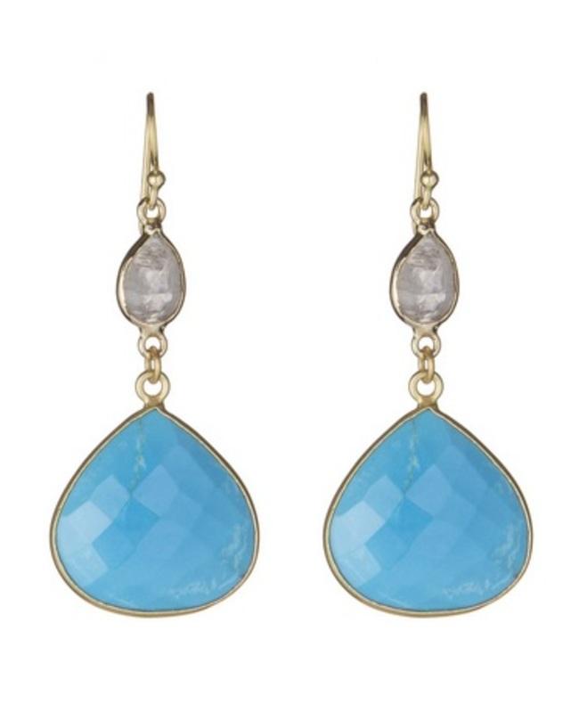 Ashiana London Two Stone Drop Earrings in Turquoise & Moonstone