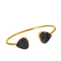 Margaret Elizabeth Teardrop Bangle in Black Druzy