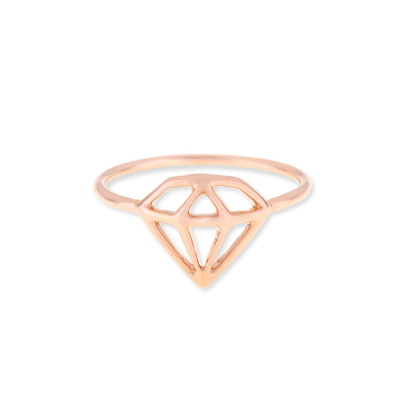 Wanderlust + Co Frame-Diamond Rose Gold Ring