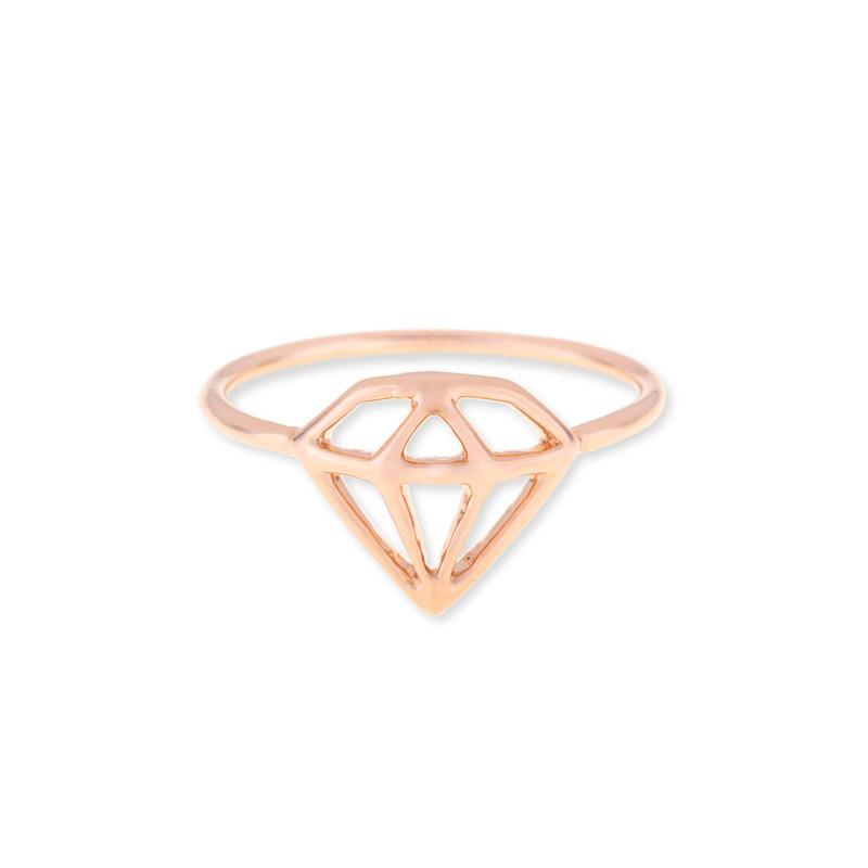 Wanderlust + Co Frame-Diamond Rose Gold Ring