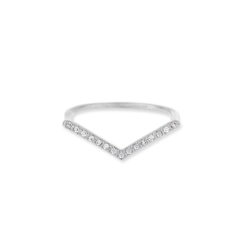 Wanderlust + Co V-Bar Crystal Silver Ring