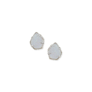 Kendra Scott Tessa Silver Stud Earrings in Iridescent Drusy