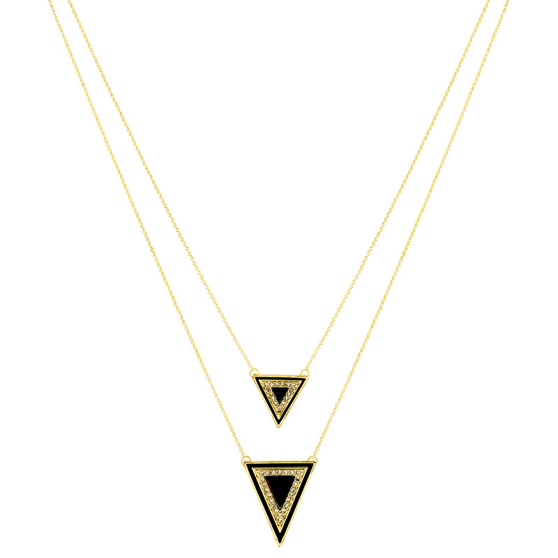 House of Harlow 1960 Teepee Triangle Necklace in Black