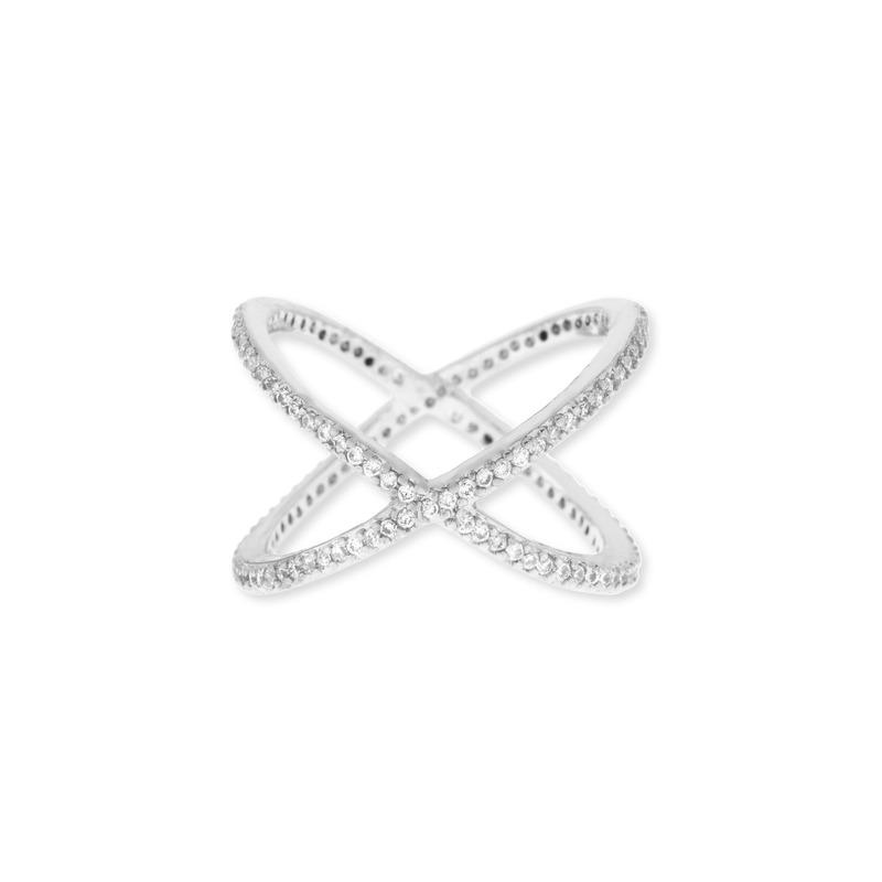 Sophie Harper Pavé X Ring in Silver