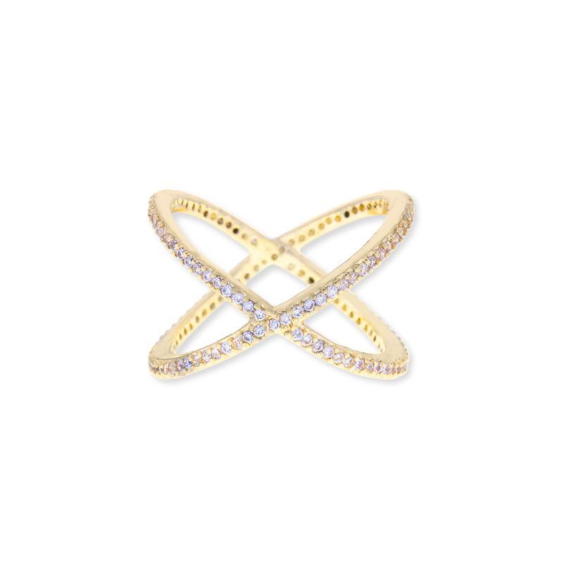 Sophie Harper Pave X Ring in Gold