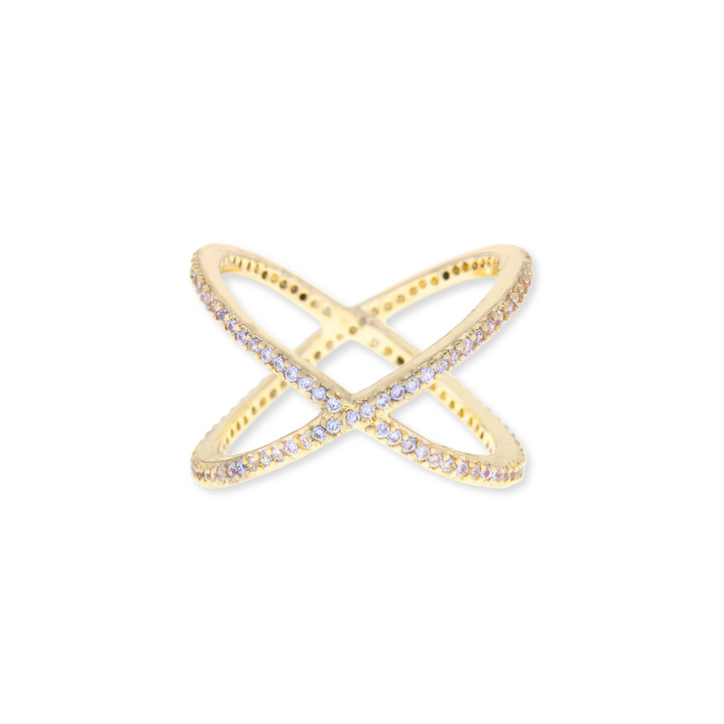 Sophie Harper Pavé X Ring in Gold