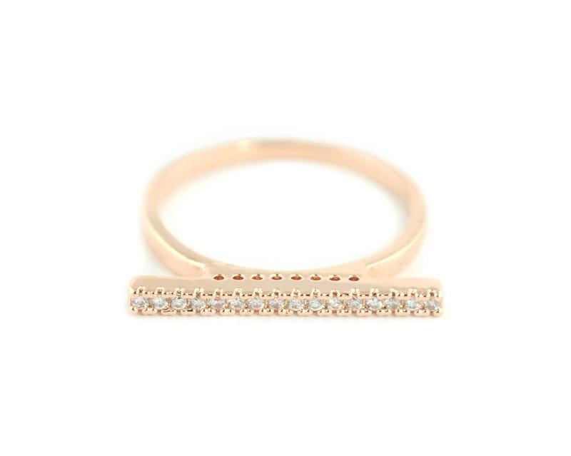 Wanderlust + Co Crystal Bar Rose Gold Ring