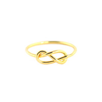 Wanderlust + Co Infinity-Pretzel Gold Ring